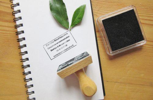 Carte de visite écologique - Astuce bonus - tampons